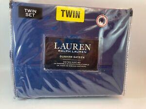 Ralph Lauren DUNHAM SATEEN Solid CADET BLUE 300 TC 3 piece TWIN SHEET SET - NEW
