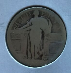 Silver Standing Liberty Quarter, Type 1 Var. Minted in 1916 and 1917