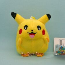 "Cute Poke Pikachu Plush Doll Stuffed Toy Keychain 3.5"" #1"