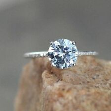 1.80 Carat Round Diamond Engagement Rings 14K Solid White Gold Ring Size M N