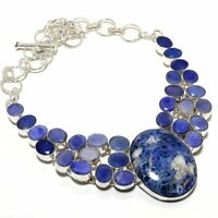 """Sodalite, Sapphire Gemstone Ethnic 925 Sterling Silver Jewelry Necklace 18"""""""