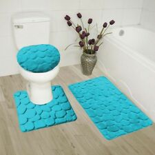 TURQUOISE 3PC ROCK STYLE EMBOSSED BATHROOM SET DESIGN STANDS OUT RUBBER BACKING