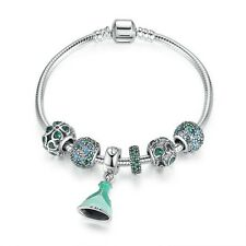 Sterling Silver summer collection Green Bracelet With Lucky Clover charm