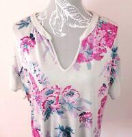 Joules Women's Grey Short Sleeve Floral Viscose 'KATHERINA' Summer Top ~ UK 16