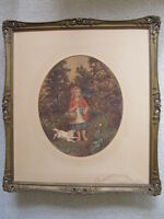 ANTIQUE MUSEUM QUALITY Little Red Riding Hood watercolor PAINTING GEORGE ANDREWS