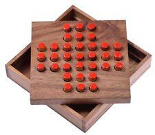 Solitär Solitaire Steckspiel Denkspiel Knobelspiel Geduldspiel Holz Gr. L  rot