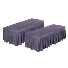 """2pack/set Cosmetic Massage Table Skirt Beauty Bed Sheet Cover 71x24"""" Purple"""