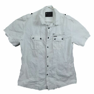 Marc Ecko Cut & Sew Mens Shirt Size L White Short Sleeve Button Up Front Pockets