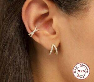 925 Sterling Silver Women's Earrings Studs Helix Ear Cuff 925er Silver New