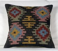Indian Vintage Wool Jute Kilim Cushion Cover Decorative Pillows Dorm Decor 1088