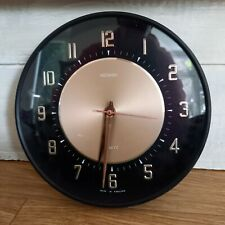 More details for vintage metamec wall clock mid century black gold retro tested & working 20cm
