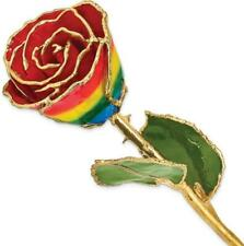 Lacquer Dipped Gold-Tone Trim Rainbow Rose