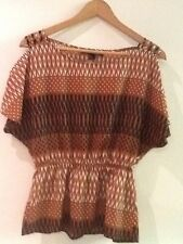 Forever 21 Open Cold Shoulder Brown Black White Tunic Blouse Womens Sz S / P