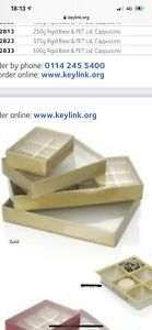 Keylink SPC2808 125g Fold Flat Shiny Gold Base With Clear Lid Pack Of 25