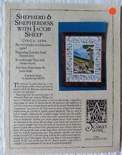 Scarlet Letter Cross Stitch Pattern Shepherd & Shepherdess with Jacob Sheep 1996