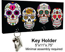 KEY HANGER HOLDER RACK - SUGAR SKULL 3 Dia de los Muertos Halloween Horror
