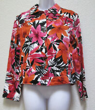 CARIBBEAN JOE WOMENS SUMMER COTTON JACKET SIZE SMALL FLORAL PINK/RED