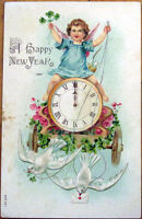 1907 New Year Postcard: Clock Carriage & Doves - Embossed, Color Litho