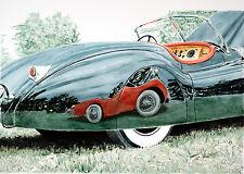 """Jaguar """"XK140 0n XK120"""" watercolor original Painting 40""""X60"""""""