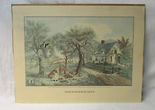 "Currier and Ives  "" American Homestead Autum ""  Print"