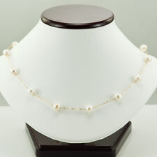 14K YELLOW GOLD & WHITE FRESH WATER CULTURED ROUND PEARL NECKLACE 16""