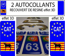 "2 stickers plaque immatriculation auto DOMING 3D RESINE Ane Catalan Burro ""CAT"""