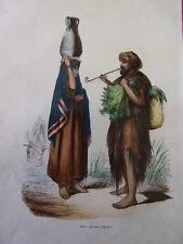 COSTUME EGYPTE / Fellah ( paysans égyptiens ) 1847 rehaussée de couleurs