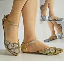 Womens Ladies Party Diamante Ankle Straps Low Flat Heel Shoes Sandal Size-1126