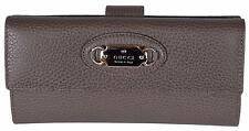 New Gucci Women's 231841 Grey Field Brown Leather W/Coin Continental Wallet