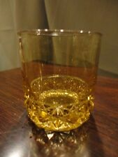 Wright Daisy & Button Amber Glass Tumbler Drinking Glass Double Shot Low Ball
