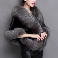 Women Winter Warm Faux Fur Shawl Cape Scarf Wrap Stole Elagant Jacket Coat Cloak