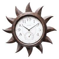 AcuRite Indoor/Outdoor Bronze 19 in. Sun Clock with Thermometer Metal Analog NEW