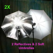 "New 2 Reflective & 2 Shoot Through Soft  33"" New Umbrellas"