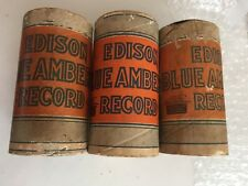 Lot of 3 Vintage Edison Blue Amberol Phonograph Record Cylinders