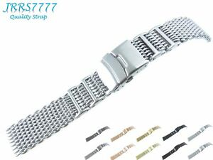 20mm Men's Watch Bracelet Stainless Steel Brushed Silver Shark Mesh Diving Strap