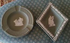 Wedgwood Jasperware x 2 jade or sea green dishes excellent condition rare shape