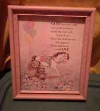 Vintage Homco Nursery Picture Pony & Bear. God Bless This Child. Pink Frame
