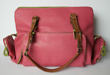 Liz Claiborne Accessories Pink Faux Leather Large Shoulder Bag Purse Tote