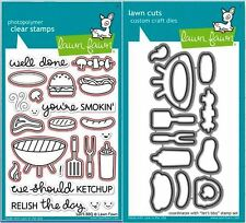 Lawn Fawn Photopolymer Clear Stamps-23ct + Dies Let'S Bbq ~Lf889, Lf890