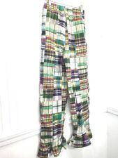Girls Madras Plaid Ruffled Hem Pants Sz 12 Green Kellys Kids Boutique Retail $44