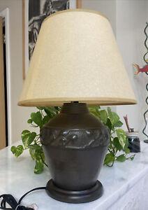 "Robert Abbey Beaux Arts Hammered Cast Metal Bulbous Ivy Wreath Table Lamp 19"""