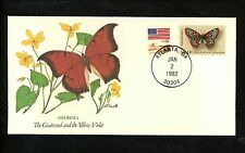 US Topical Cover 50 States Butterflies Flowers Georgia GA Goatweed Yellow Violet