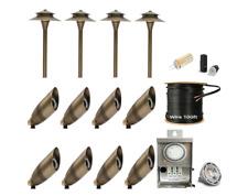 LED Low Voltage Solid Brass Spot-Pathway Light Landscape Lighting 12pk Combo Kit