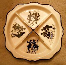 Vtg Erphila Art Pottery Czecho Slovakia 4 Part Serving Dish Silhouette Design