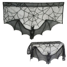 Clearance Haunted Party Halloween Decor Fireplace Black Lace Bat Curtain Props
