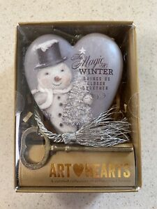 Art Hearts By Demdaco The Magic Of Winter Heart With Key Can Stand Or Hang Up.