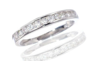 White Gold Sterling Silver Round Cut Diamond Wedding Engagement Band Ring