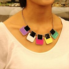 Collar Art Deco Carr Esmalte Multicolor Negro Blanco Amarillo Original Noche KS