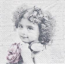 Lot de 4 Serviettes en papier Fillette Rose Sagen Vintage Decoupage Collage