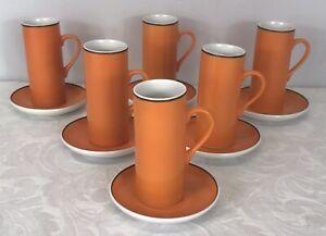 Set of 6 x 1960s Tackett Schmid Orange Espresso Cups & Saucers